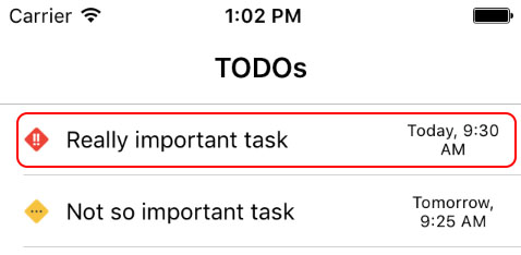 Example todo note entries