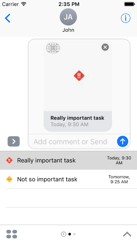 Working iMessage todo extension